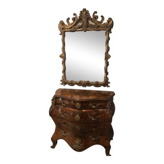 Antique Burl Wood Bombay Chest With John Richard Mirror For Sale