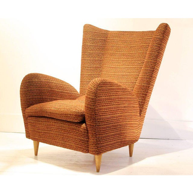 1950s Pair of 1950s Italian Armchairs Attr. to Paolo Buffa, Robert Allen Upholstery For Sale - Image 5 of 6
