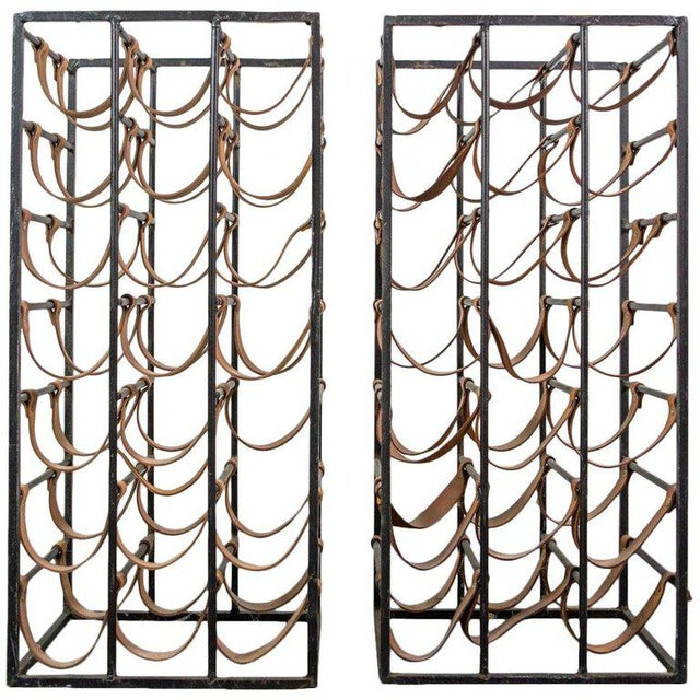 Animal Skin Pair of Iron and Leather Wine Racks by Arthur Umanoff, 1950s For Sale - Image 7 of 9