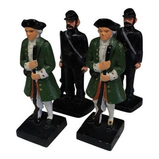 Cast Iron Soldier Bookends - Set of 4 For Sale