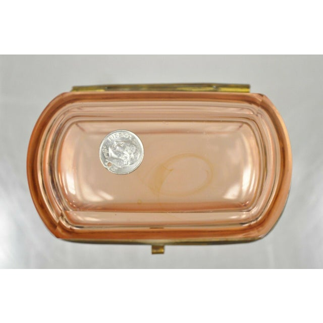 Pink Antique Pink Glass Trinket Jewelry Casket Box Chest Brass Hinge For Sale - Image 8 of 11