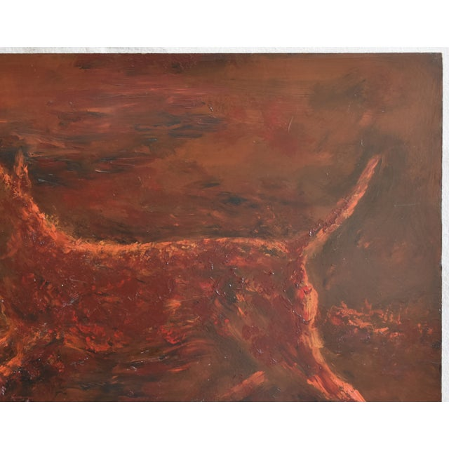Midcentury Folk Art Running Rusty Dog Oil Painting by M Sanders For Sale In Los Angeles - Image 6 of 9