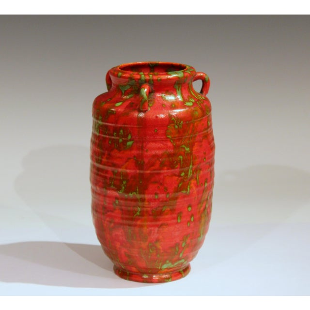 Art Deco Awaji Pottery Atomic Chrome Red Art Deco Hot Lava Japanese Vase For Sale - Image 3 of 11