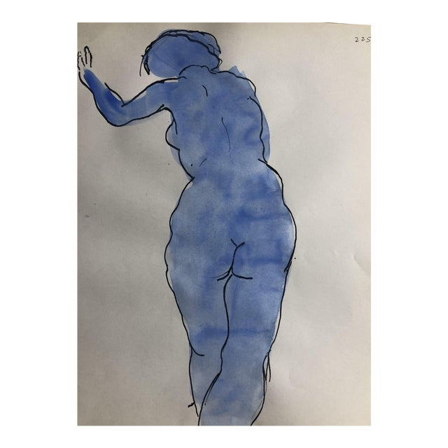 Nude Blue Female Figure Study, 1950s For Sale