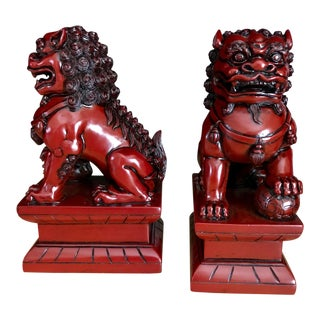 1990s Chinese Red Foo Fu Dog Bookends - a Pair