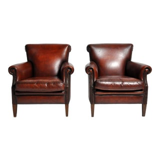 1940s Art Deco Leather Club Chairs - a Pair For Sale