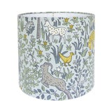 Image of Blue Woodland Animal Nursery Drum Lamp Shade For Sale