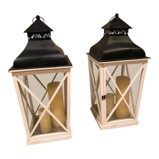 White Metal Outdoor Lanterns - A Pair For Sale
