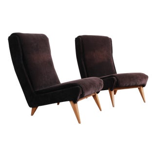 French Mid-Century Modern Low Lounge Chairs, 1950s - a Pair For Sale