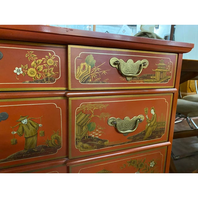 Chinese Red Chinoiserie Chest of Drawers by Baker Furniture c.1970s Simply the best! Baker Furniture Company chest of...