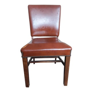 1950s Traditional Armless Naugahyde & Wood Oak Office Chair For Sale