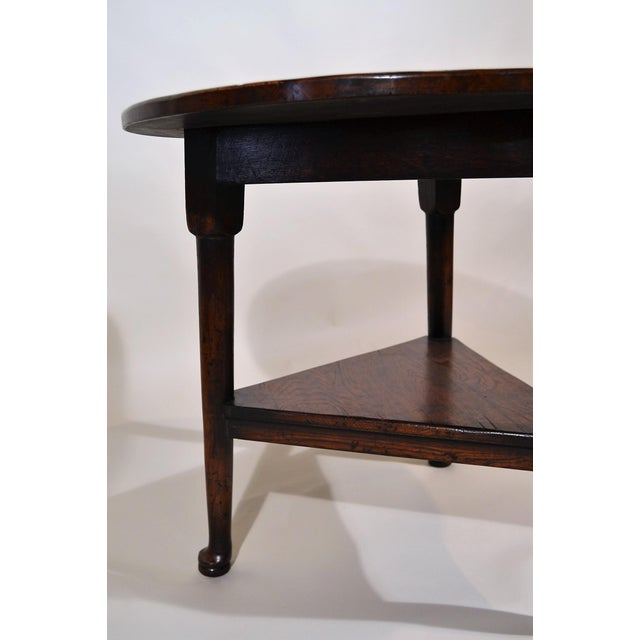 English Traditional English Oak Triangular Cricket Table For Sale - Image 3 of 4