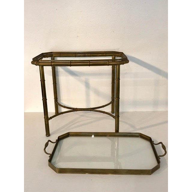 Gold Faux Bois Campaign Style Patinated Brass Tray Table, by Mastercraft For Sale - Image 8 of 9
