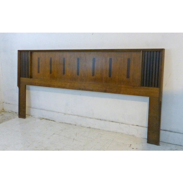 Vintage Lane King Size Ribbed Walnut and Rosewood Headboard Hard to Find - Image 5 of 10