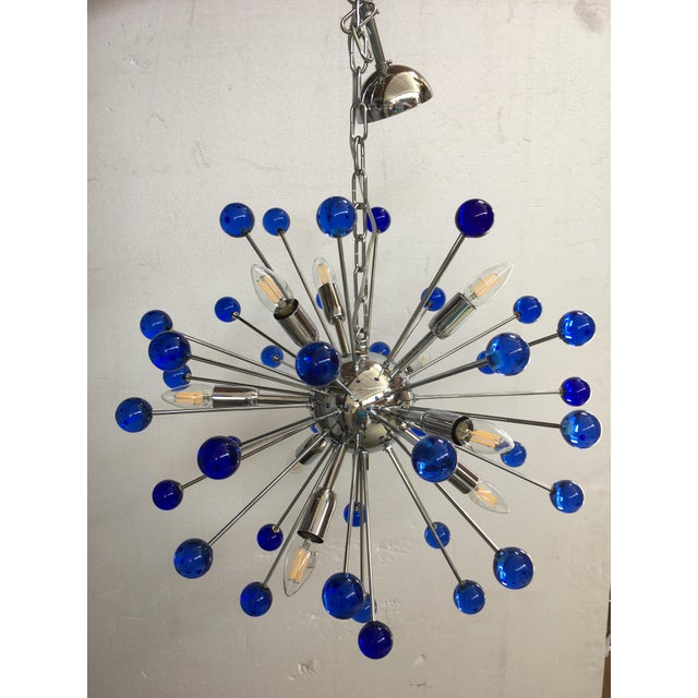 Glass Murano Glass Chandelier in Sputnik Style With a Kromo Frame For Sale - Image 7 of 7