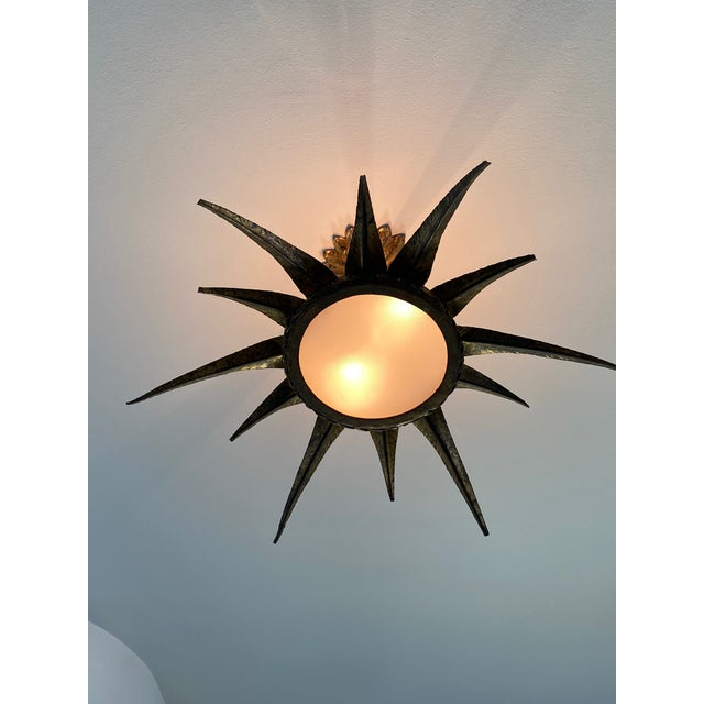 Gold 1950s French Sunburst Ceiling Mount Fixture For Sale - Image 8 of 9