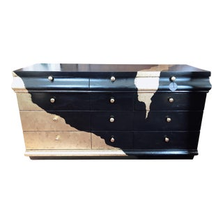 """Black and Gold """"Geode"""" Painted Chest For Sale"""