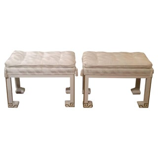 Vintage Lacquered Upholstered Benches or Footstool For Sale