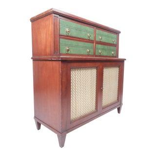 Vintage Modern Renzo Rutili Green Leather Front Dresser for Johnson Furniture For Sale