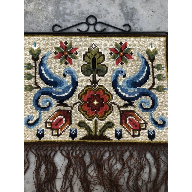 Beautiful vintage Swedish Folk Art, hand made wall hanging. It's embroidered in a technique called twist stitch and was...