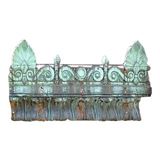 Early 20th Century Traditional Beaux-Arts Style Repousse Oxidized Copper Building Fragment For Sale