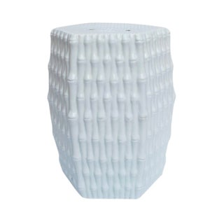 White Porcelain Garden Stool With Bamboo Carving