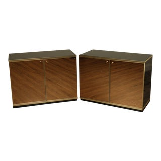 Contemporary Mirrored Door Cabinets - a Pair For Sale