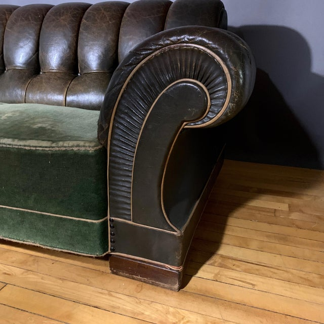 Art Deco Danish 1930s Art Deco Green Leather Channeled Sofa For Sale - Image 3 of 11