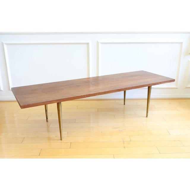 Mid Century Modern Coffee Table With Brass Legs