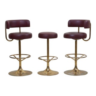 Set of 3 Brass Börje Johansson Bar Stools by Johansson Design, Signed For Sale