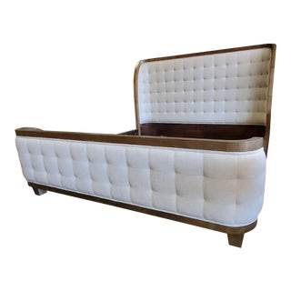 Thomasville Furniture Anthony Baratta White Upholstered King Panel Bed For Sale