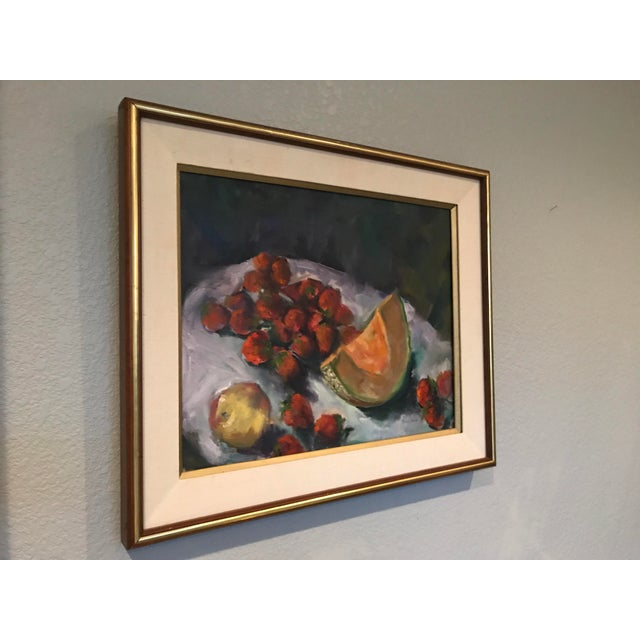 Simply stunning Still Life Oil Painting. Intense dark colors, with abstract brush strokes, surround the detailed fruit....