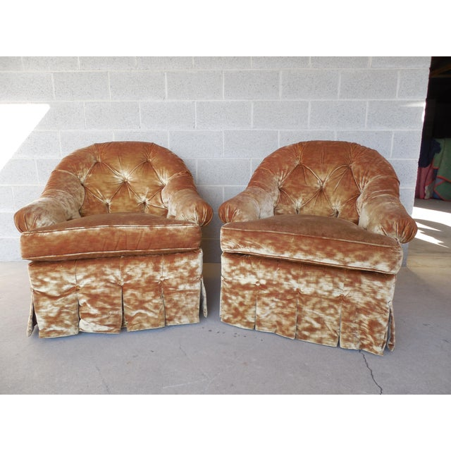 Lee Jofa Hollywood Regency Tufted Back Plush Velvet Velour Swivel Club Chairs - A Pair - Image 2 of 11