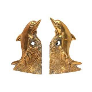 Vintage Brass Dolphin Bookends - a Pair