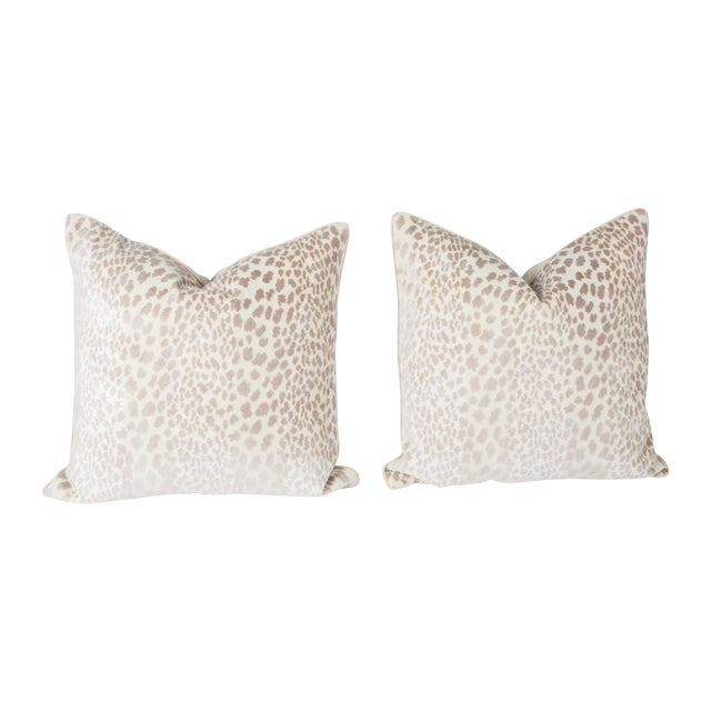 Cream Velvet Spotted Cheetah Pillows - Pair For Sale