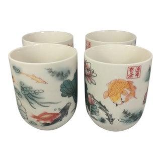 Vintage Japanese Koi Fish Sake & Tea Cups - Set of 4 For Sale