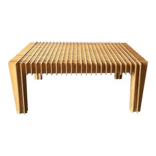 Plywood Grid Cocktail Table For Sale