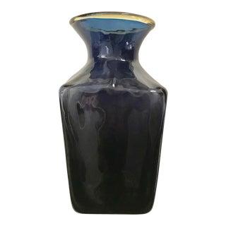 Vintage Amethyst and Blue Art Glass Vase