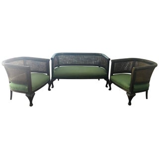 Early 20th Century Framed Bergere Caned Set of Sofa and Two Club Chairs