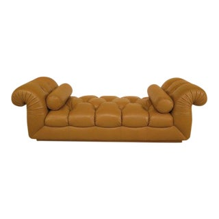 Large Tan Tufted Leather Pleated Roll Arm Settee For Sale