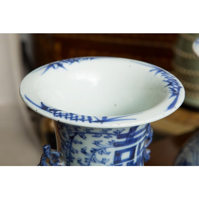 Asian Late 19th Century Chinese Blue and White Happiness Vases - a Pair For Sale - Image 3 of 8