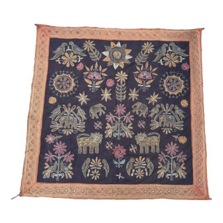 Tree of Life Indian Embroidered Wall Hanging For Sale