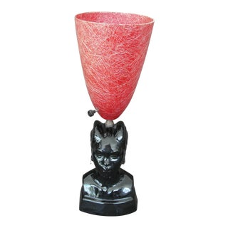 African Princess Black Ceramic Table Lamp For Sale