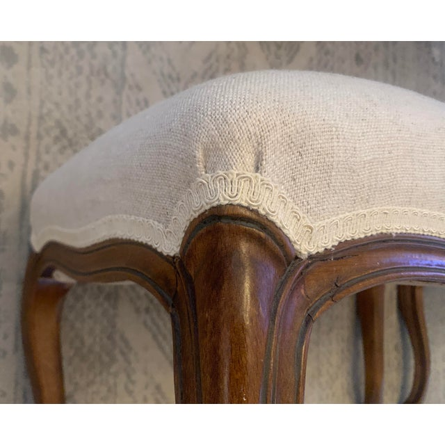 Linen Antique Louis XV Style Walnut Benches Footstools Upholstered in Off-White Linen Fabric - a Pair For Sale - Image 8 of 13