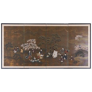 Japanese Four Panel Showa Period Tales of Genji Screen For Sale