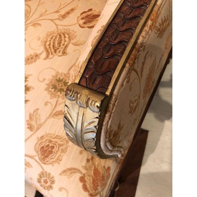 Wood Lovely Pair of Carved Gilded Wood and Upholstered French Bergère For Sale - Image 7 of 13