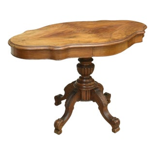 19th Century French Country Louis Philippe Burled Walnut Rotating Table For Sale