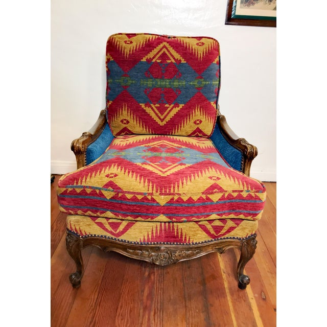 19th Century French Upholstered and Carved Armchair For Sale - Image 9 of 13