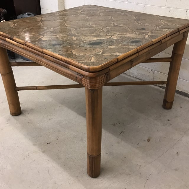 Boho Chic Bamboo Dining Card Table For Sale - Image 3 of 11