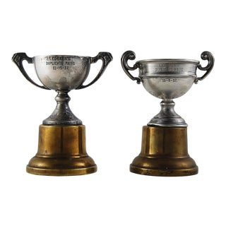 1937 Silver Plate Tennis Trophies - a Pair For Sale